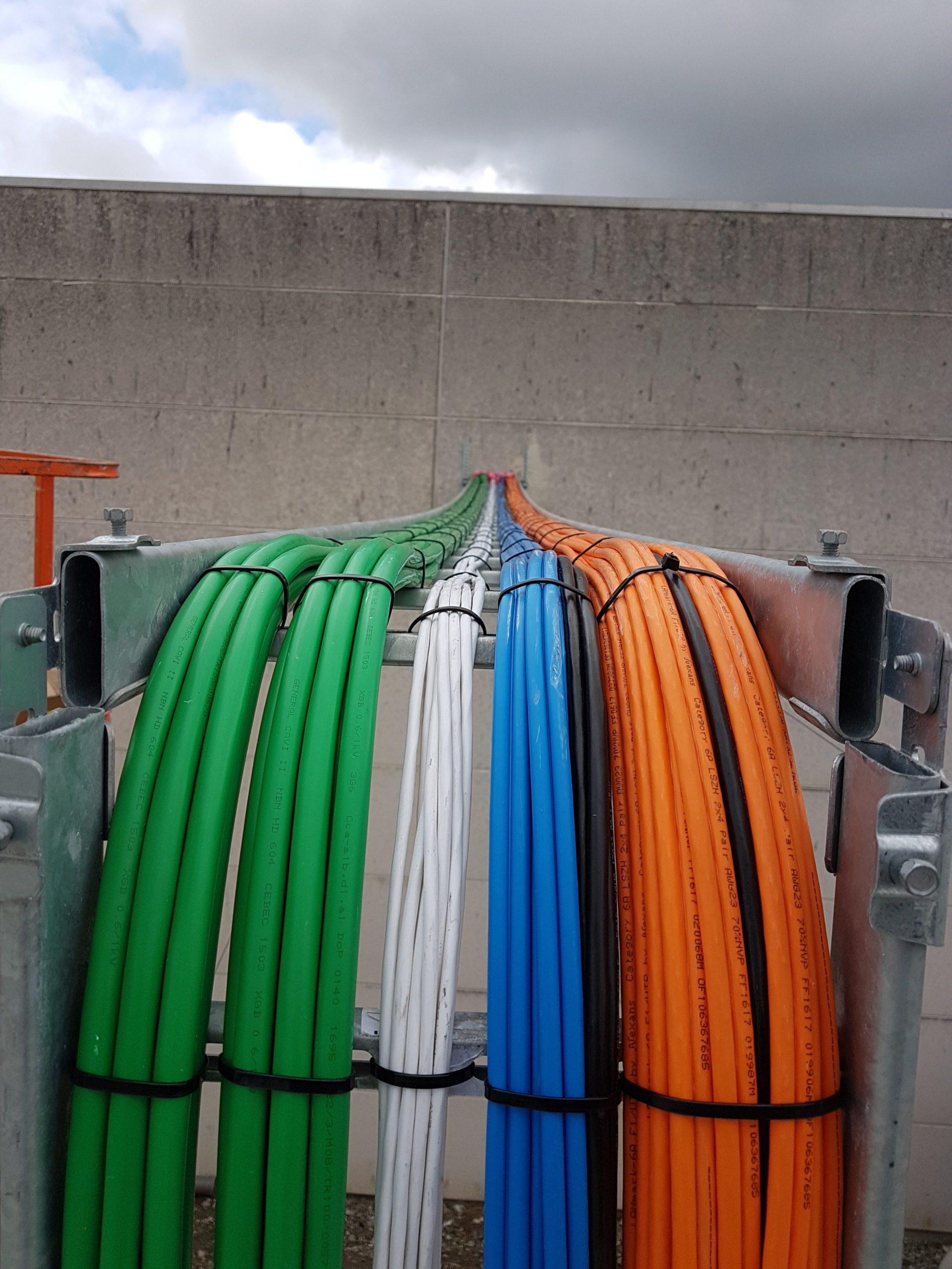 Bekabelingswerken voor voorlopige containerburelen groen wit blauw orangje xgb futp cat6